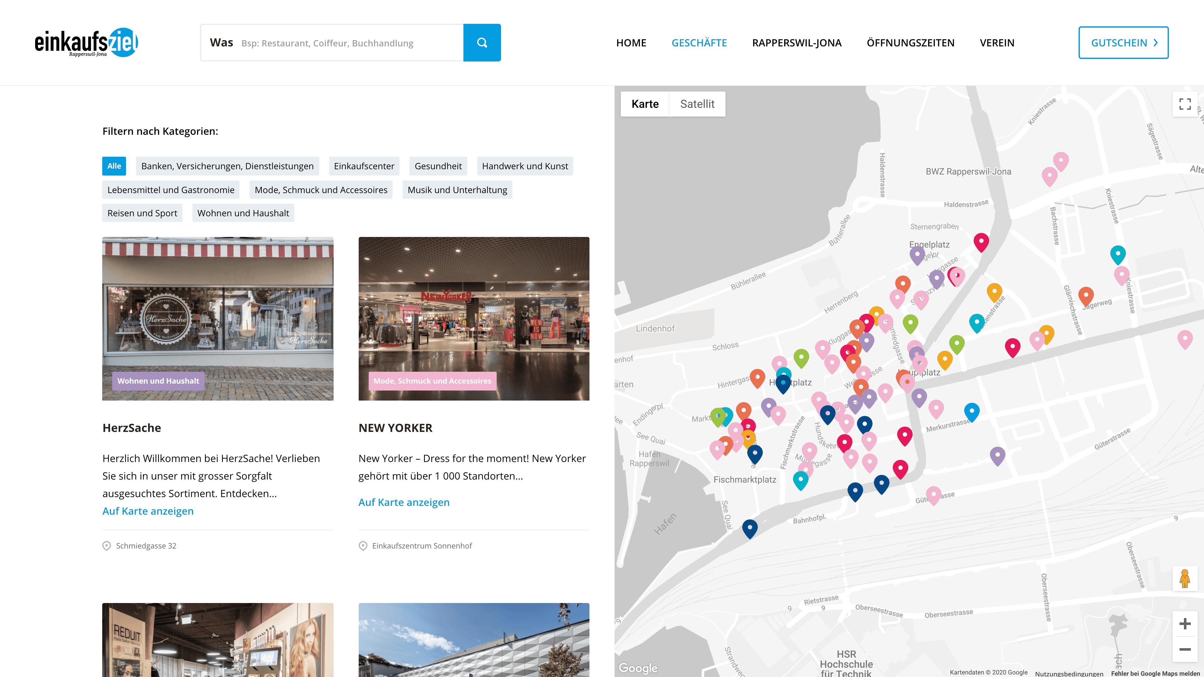 Screenshot der Website zeigt die Geschäfte in Rapperswil