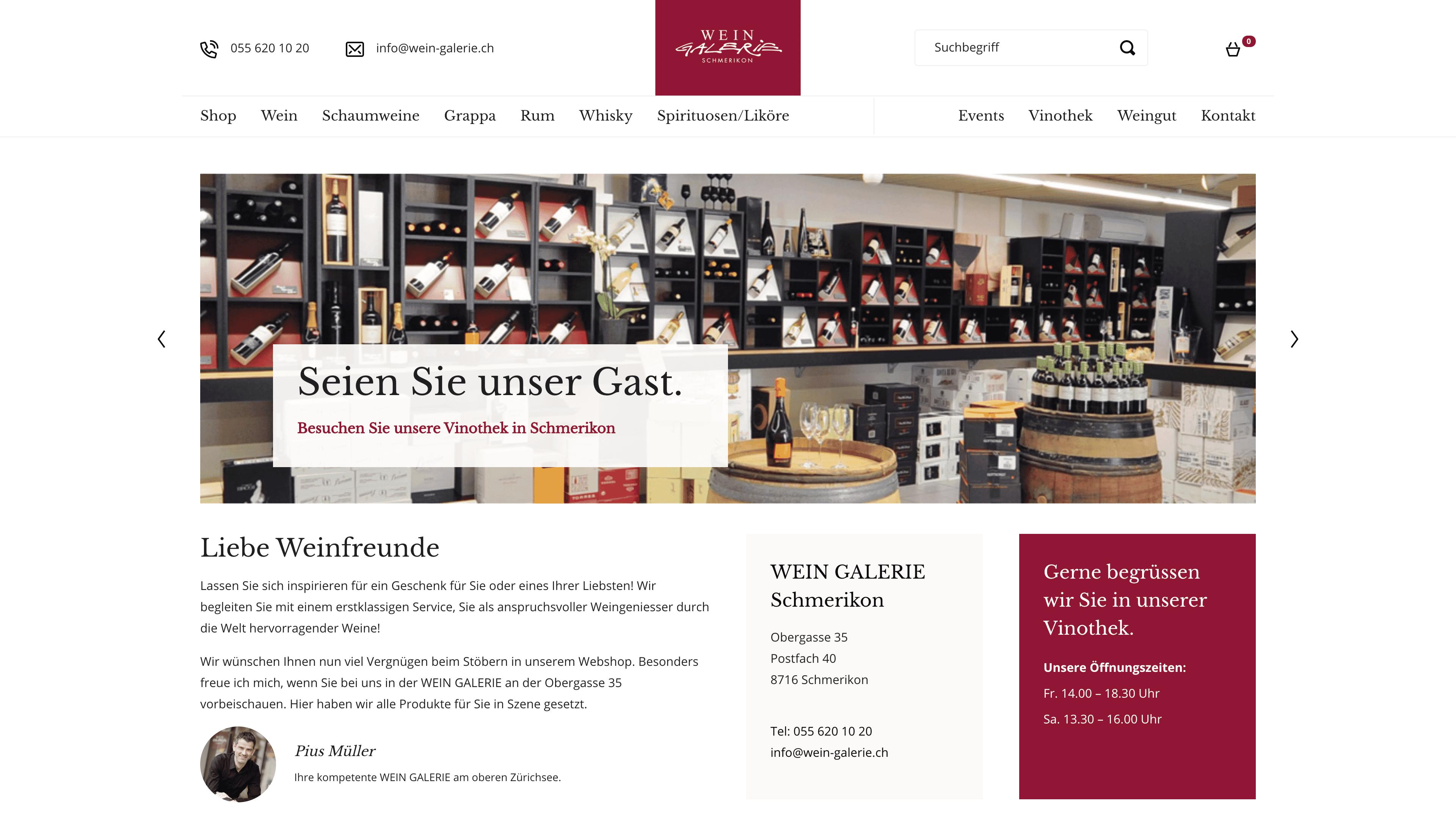 Wein Galerie Schmerikon - Webshop auf Wordpress mit WooCommerce - Home