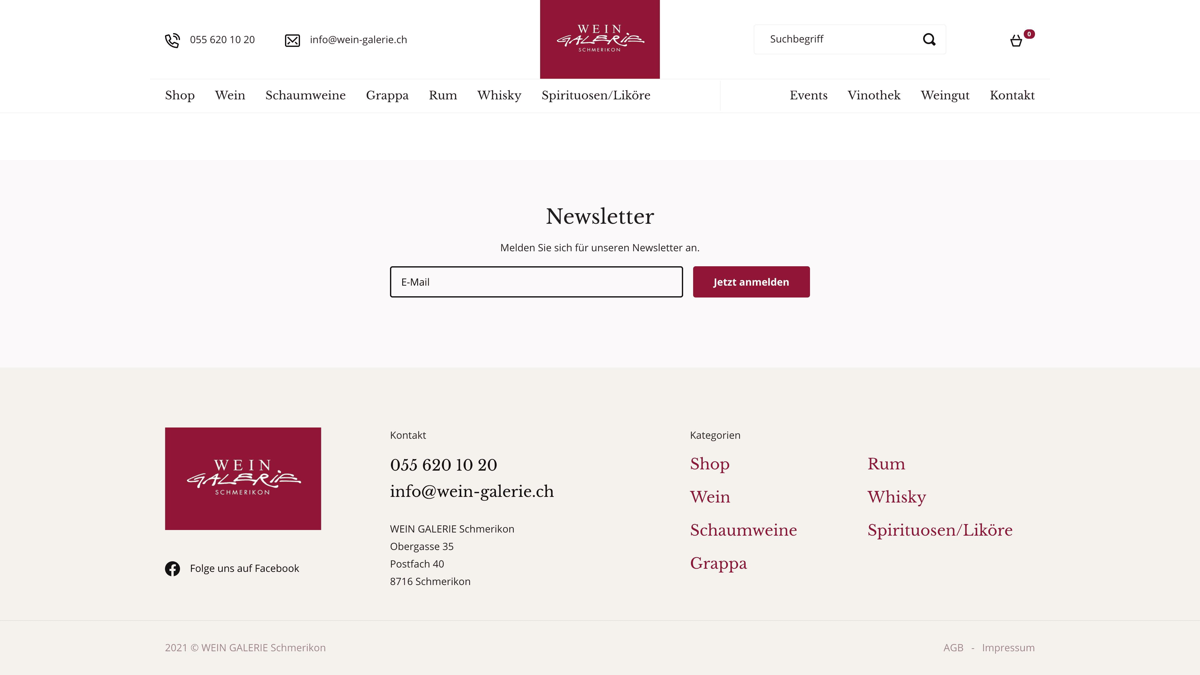 Wein Galerie Schmerikon - Webshop auf Wordpress mit WooCommerce - Newsletter