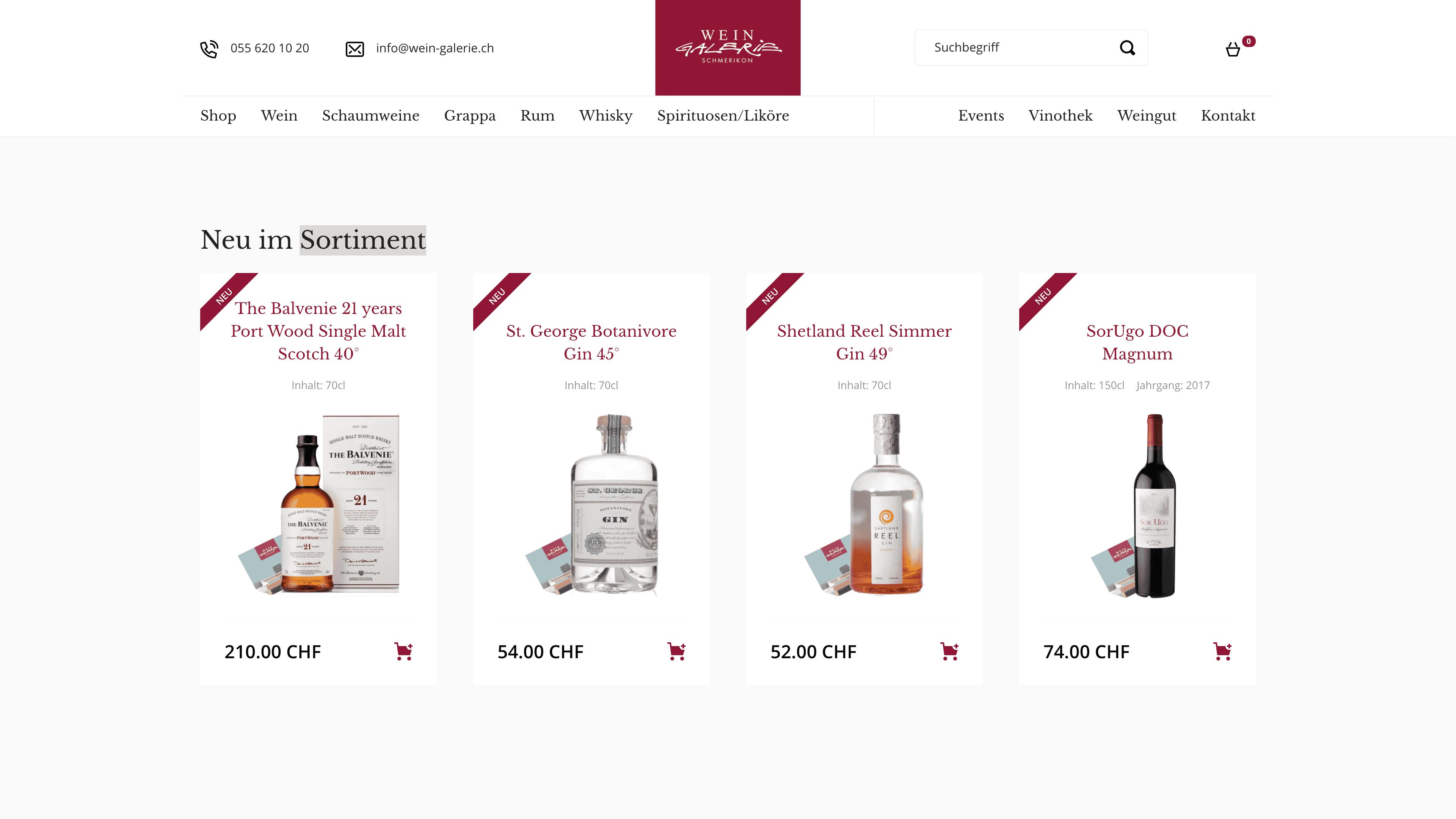 Wein Galerie Schmerikon - Webshop auf Wordpress mit WooCommerce - Neue Produkte