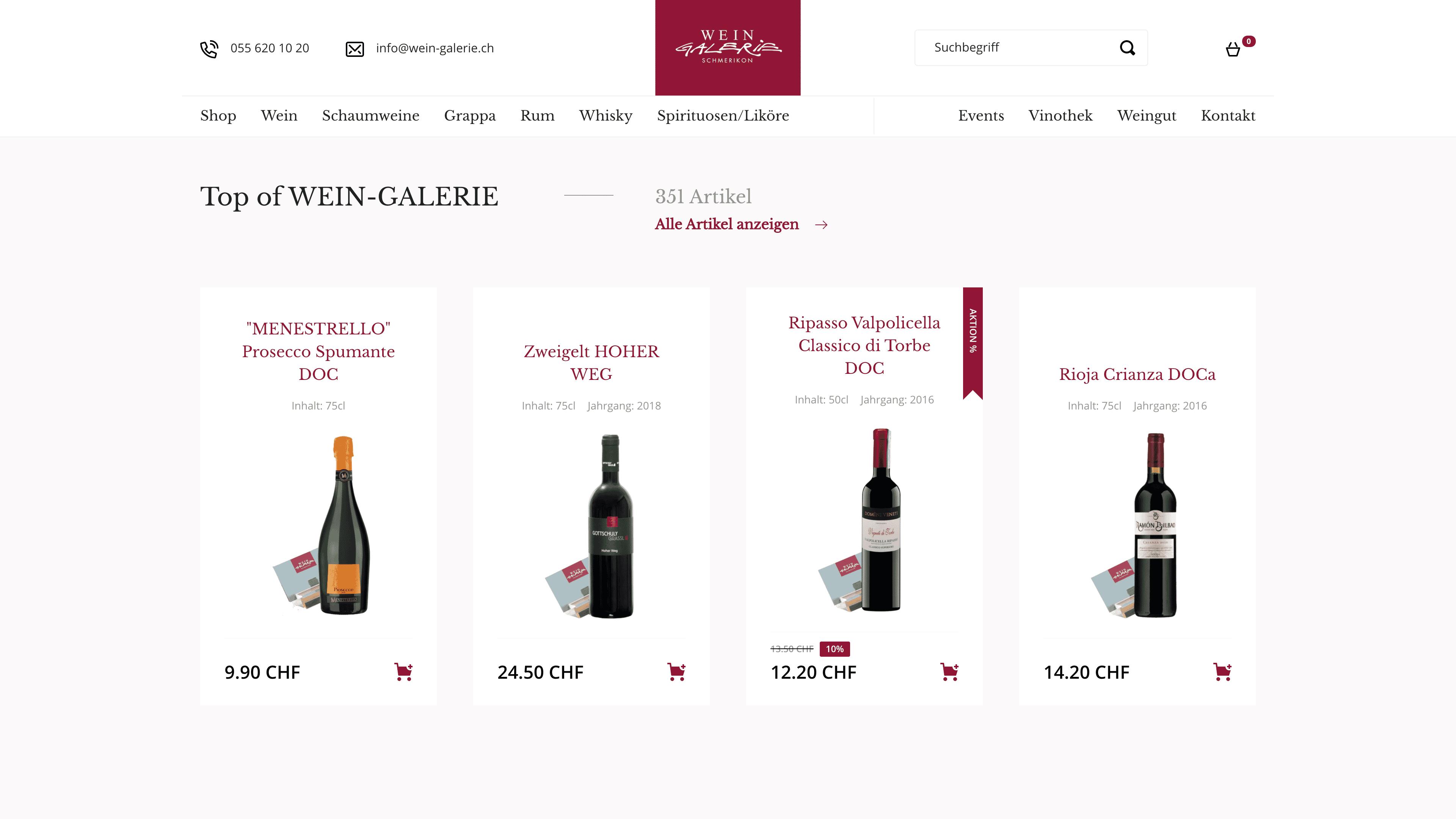 Wein Galerie Schmerikon - Webshop auf Wordpress mit WooCommerce - Produkte