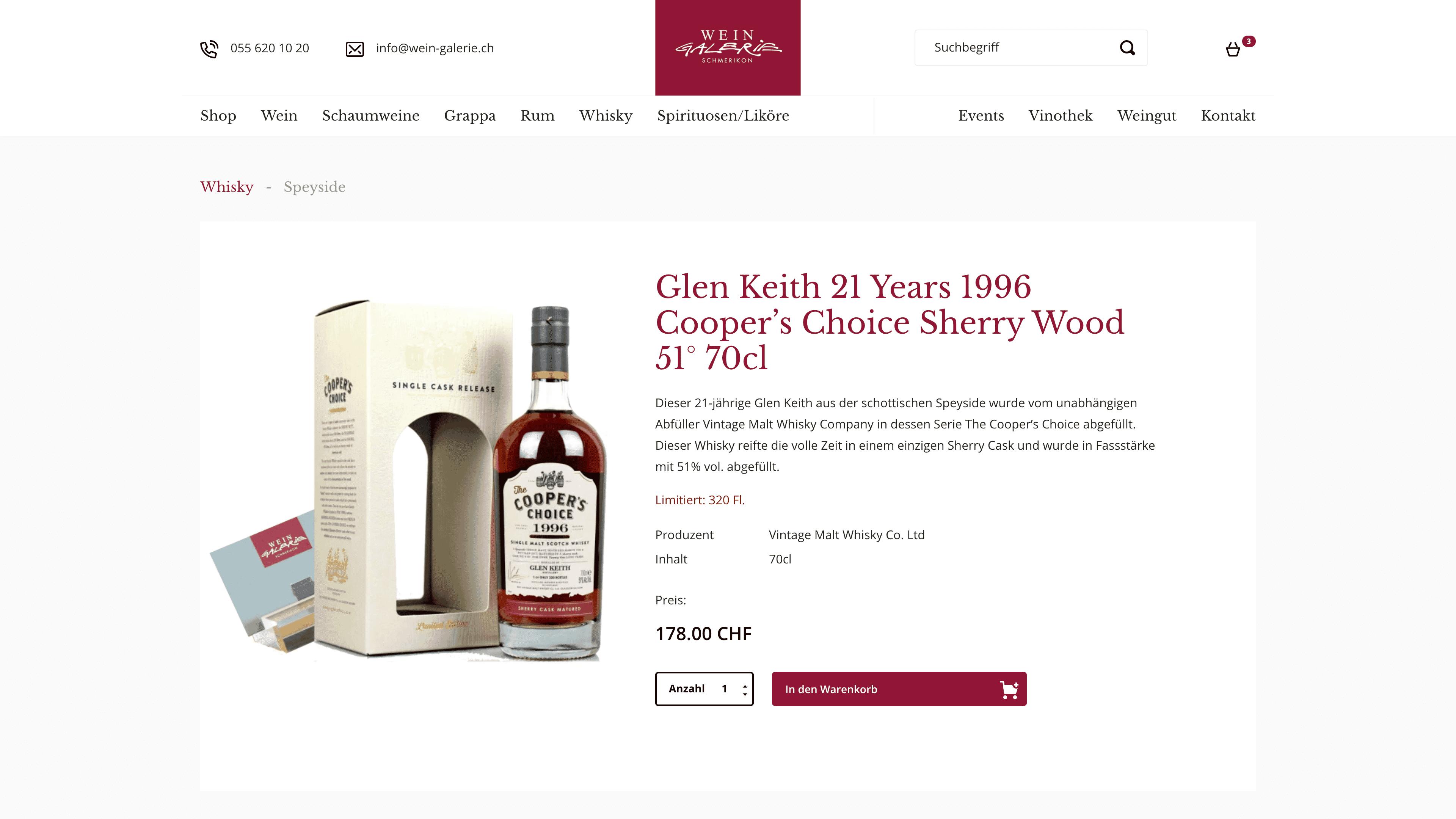 Wein Galerie Schmerikon - Webshop auf Wordpress mit WooCommerce - Webshop Produktansicht