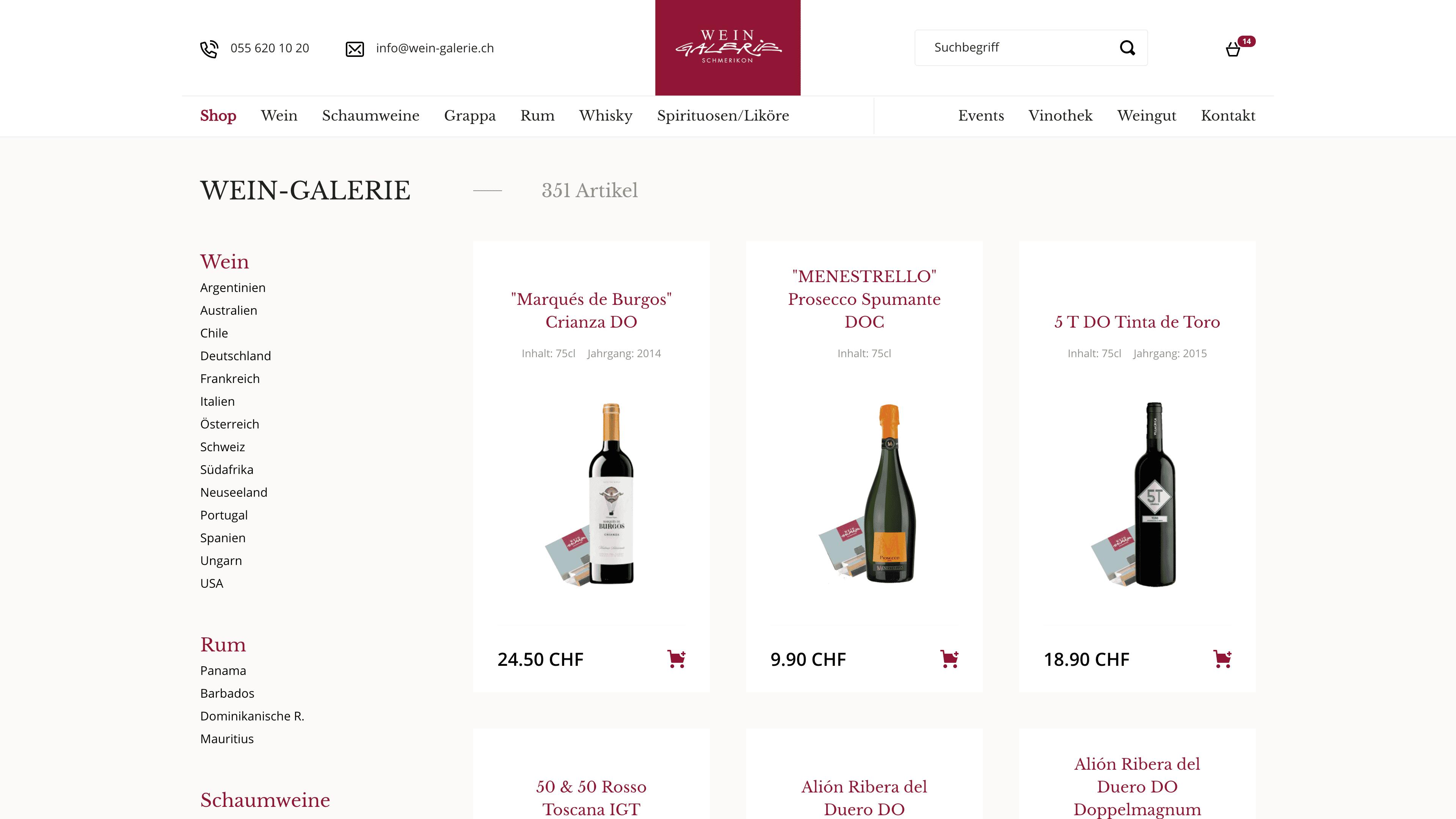 Wein Galerie Schmerikon - Webshop auf Wordpress mit WooCommerce - Webshop Übersicht