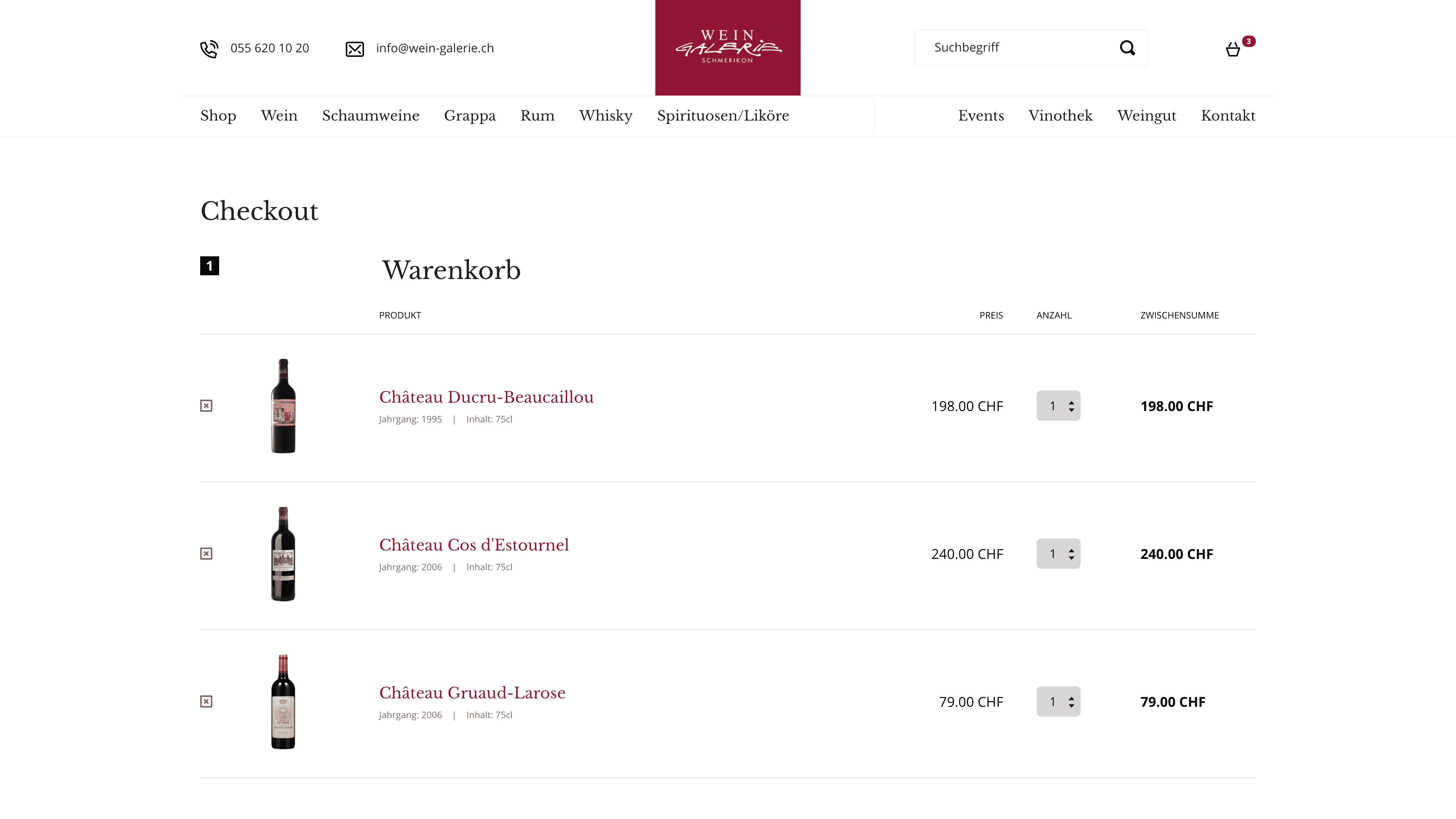 Wein Galerie Schmerikon - Webshop auf Wordpress mit WooCommerce - Webshop Warenkorb
