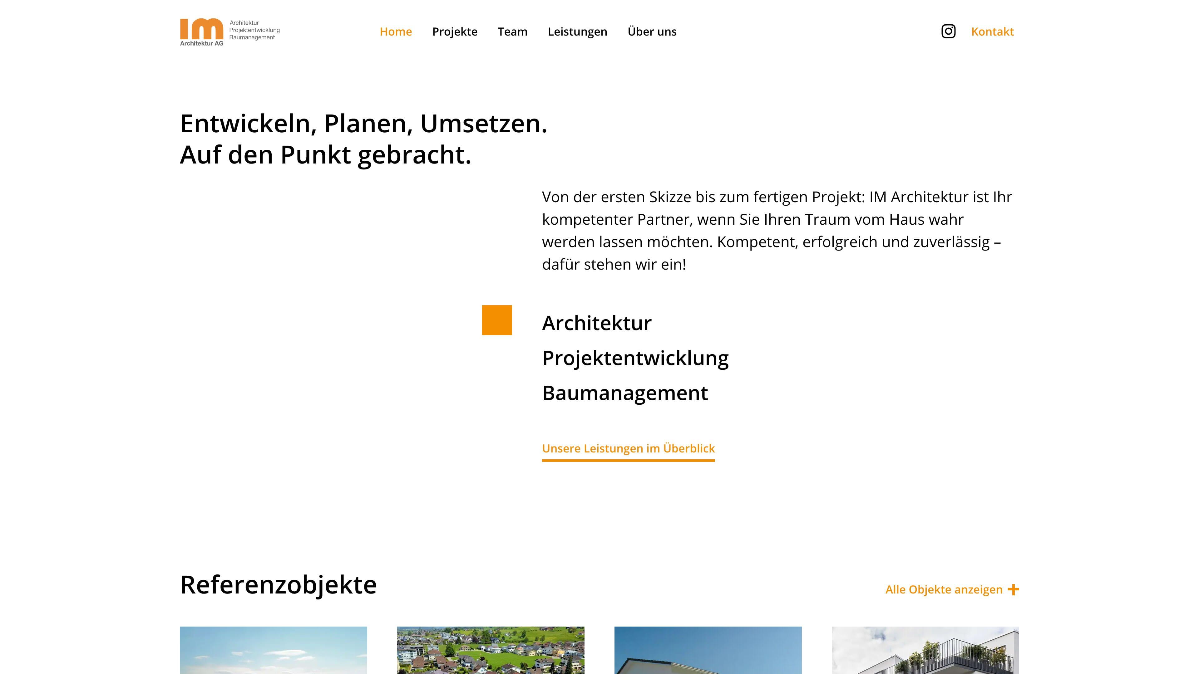 Website für IM Architektur