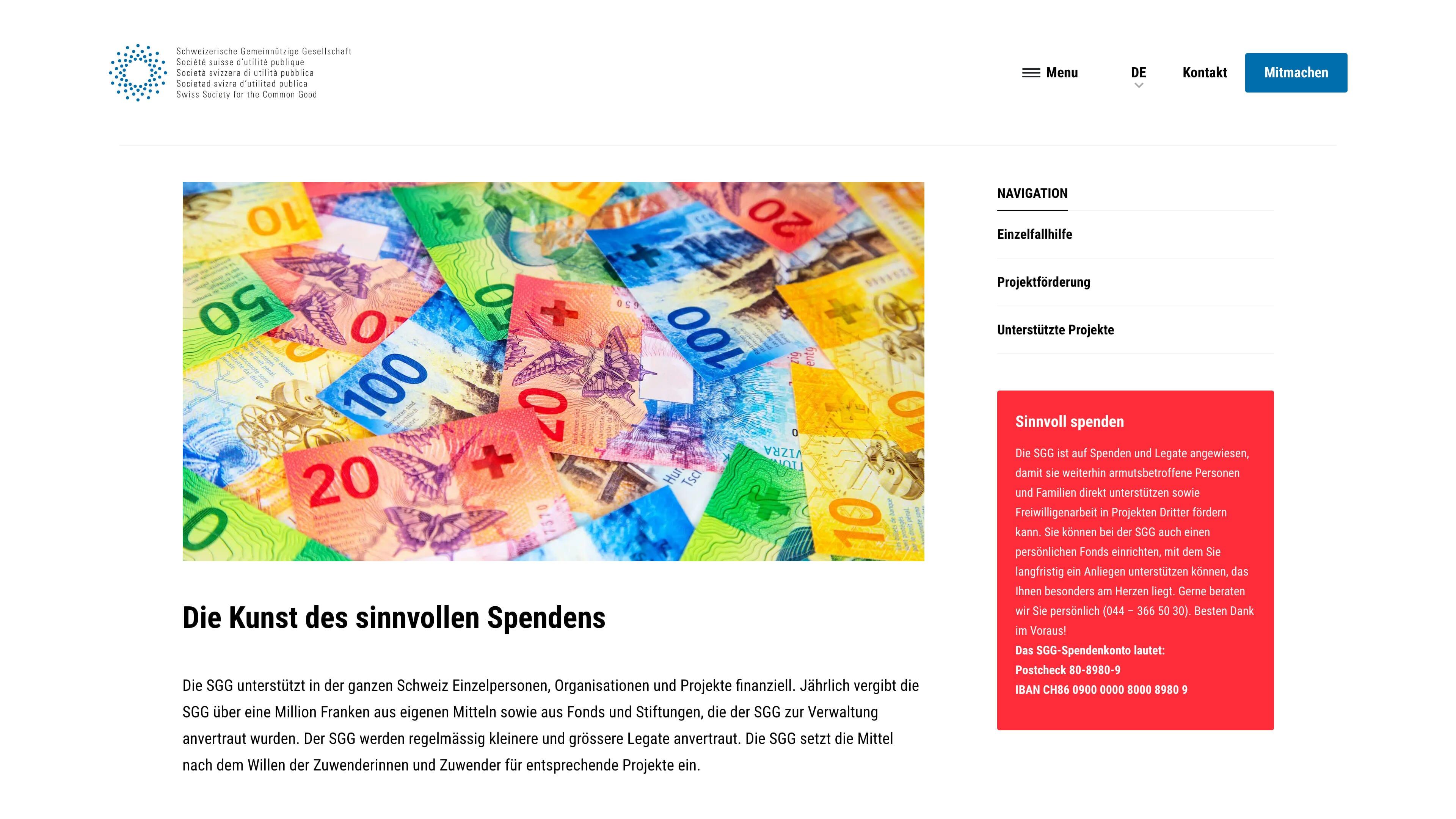 Website für die Schweizerische Gemeinnützige Gesellschaft SGG